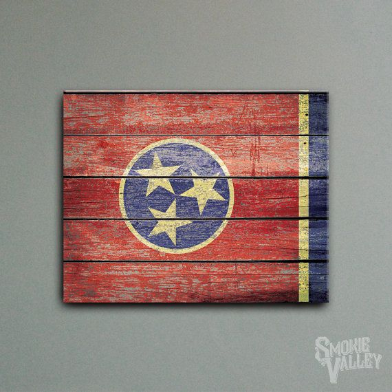 Distressed Tennessee Flag - Rustic Flag Decor - 16x20 Canvas Wall Art
