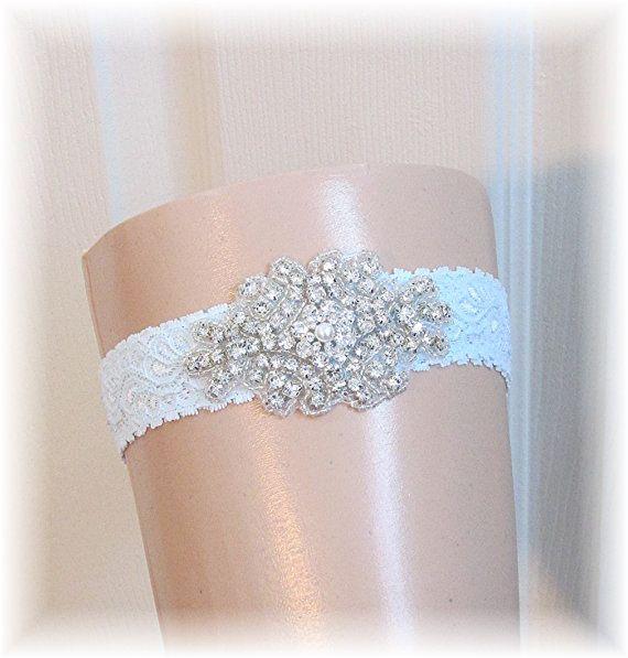 Something Blue Wedding Garter Bridal Crystal Rhinestone Vintage Style Couture Custom Keepsake For Bride