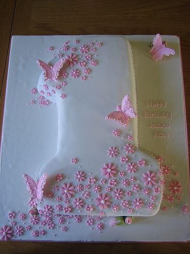 White with pink flowers and butterflies number 1 cake