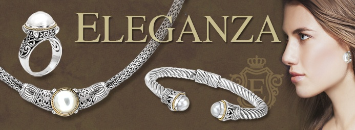 Eleganza -- Eleganza presents an exquisite collection of sterling silver jewelry, accented with rich 18k gold and bejewelled with genuine stones.   As affordable as it is stylish, each piece features precision craftsmanship and attention to every detail. Eleganza is sure to become your favorite designer collection!