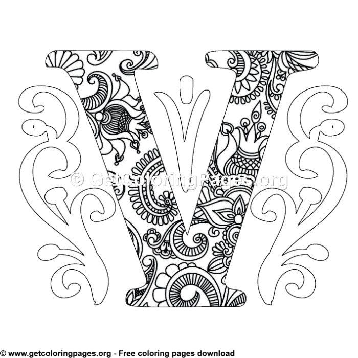 Zentangle Monogram Alphabet Letter V Coloring Sheet Alphabet