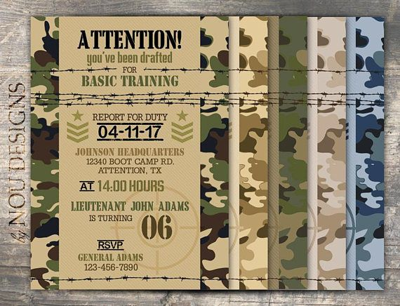 Army Camouflage Military Boot Camp Birthday Invitation Card