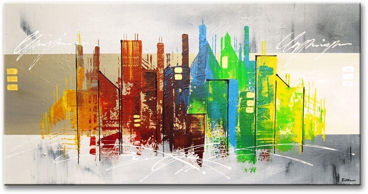 Schilderij vibrant skyline van buttner for Skyline schilderij