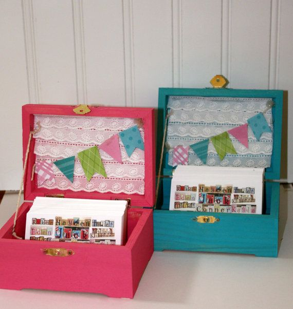 Business card holder  - SO CUTE!! Yep DOING THIS! I even have one of these unpainted boxes!