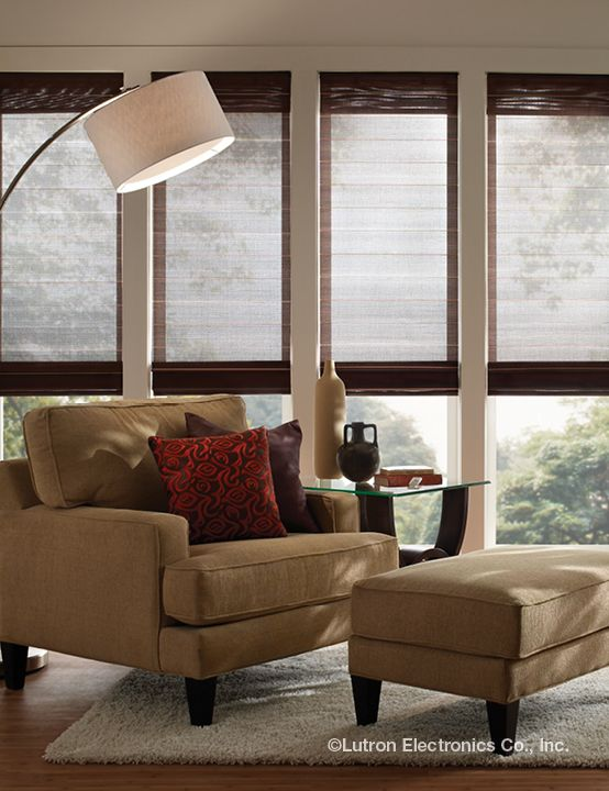 The perfect spot to enjoy a saturday afternoon with a good for Budget blinds motorized shades