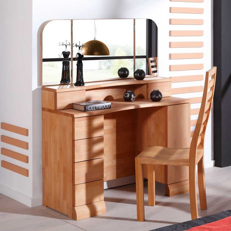 schminktisch aus buche massivholz bei kaufen eine tolle schminkkommode mit spiegel. Black Bedroom Furniture Sets. Home Design Ideas