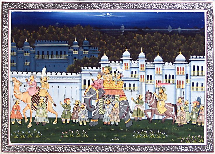 Mughal Procession (Painting on Silk - Unframed))
