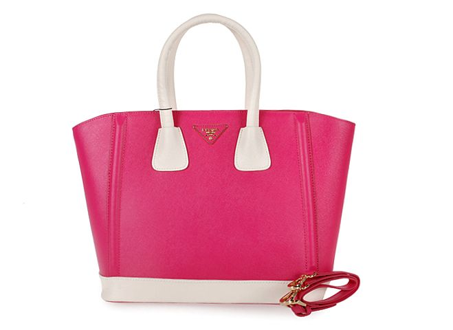 2013 Cheap Saffiano leather tote hot pink,Prada Outlet 2013