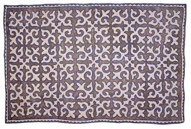 Room-size Shyrdak rug from Felt in grey and white with a refreshing blue braid 1.95m x 3.05m feltrugs.co.uk