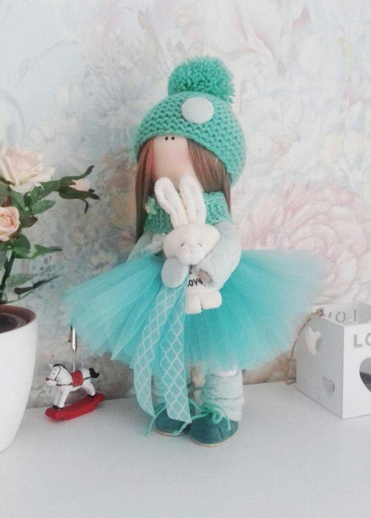 Tilda Doll Handmade Doll Unicorn doll Textile Doll Green Doll Fabric Doll Green Doll Muñecas Soft Doll Cloth Doll Baby Doll  89,00 US$