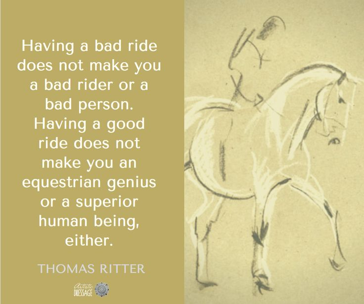 Having a bad ride does not make you a bad rider or a bad person. Having a good ride does not make you an equestrian genius or a superior human being, either. - Thomas Ritter  Have you joined our newsletter? http://eepurl.com/bYdIm5