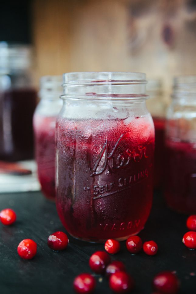 Mix cranberry juice and herbal tea to make this drink.