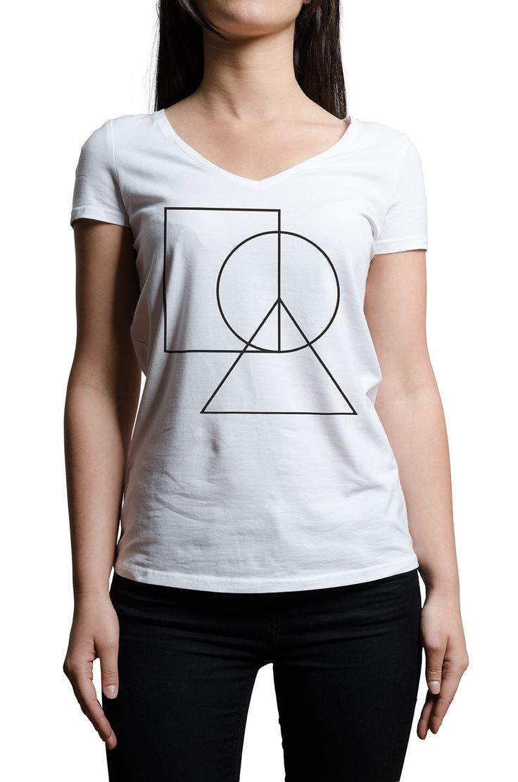 This is our Perfect Shapes T-Shirt, which is made of 100% cotton jersey and the print is made with eco-friendly ink. Super-soft, lightweight and form-fitting, this women's tee is perfect for a casual yet elegant look. The tee features a beautiful collage of simple shapes that together form a minimalist peace symbol. This ladies t-shirt lends a feminine touch to the wearer thanks to its v-shaped cleavage and tapered fit. Simply, a perfect v-neck shirt.