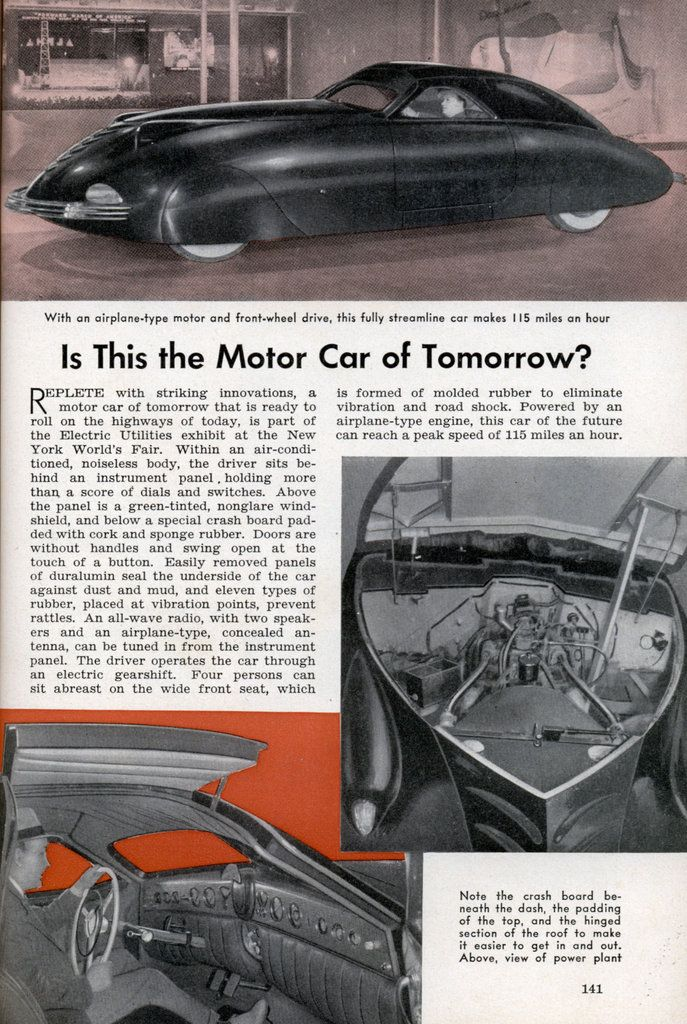 "Phantom Corsair: ""Is This The Car of Tomorrow?""  article in Popular Science Magazine - Nov, 1940"