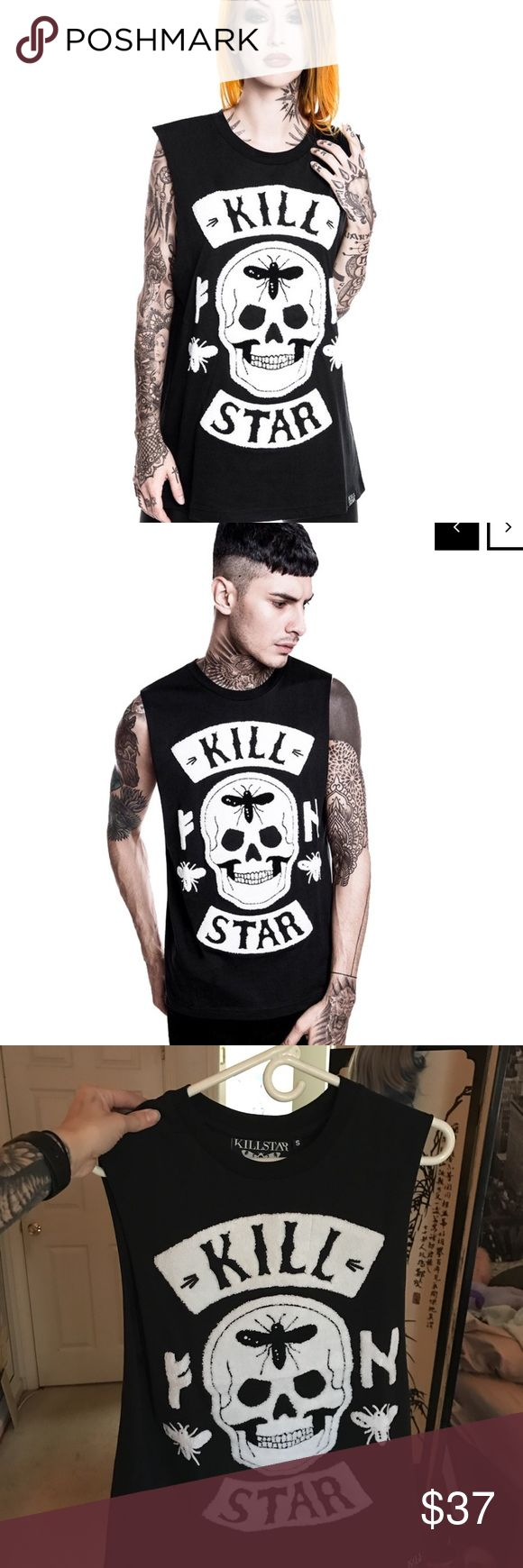 Unisex killstar highway tank top Unisex #Killstar #HighwayTankTop. Relaxed-fit tank in a durable and super smooth cotton jersey with Kill Star and scull patches on the chest. Brand new; never worn. Still has tags! Size small but #unisex Retail for $47.99. #dollskill #demonia #killstarco #nugoth #goth #punk #tattoos killstar Tops Tank Tops