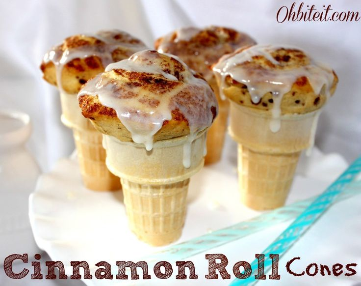 Cinnamon Roll Cones! Isn't it kind of mandatory to then top these with ice cream? :P