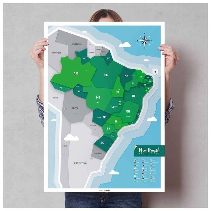Pôster do Brasil com pins-adesivos e stickers de ícones turísticos para marcar viagens.  84,1x59,4cm