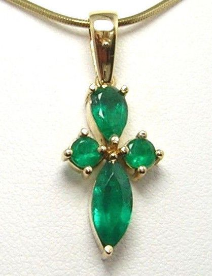 Colombian Emerald Pendant 1.85 Cts Marquise, Pear&Round 18K Yellow Gold Fine J. #CeCi #Pendant