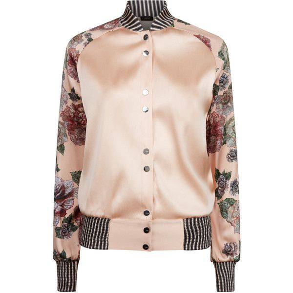 La Perla Maps In Bloom Floral Print Bi-Stretch Silk Bomber Jacket (£996) ❤ liked on Polyvore featuring outerwear, jackets, intimates, floral bomber jacket, pink jacket, flower print jacket, style bomber jacket and pink floral jacket