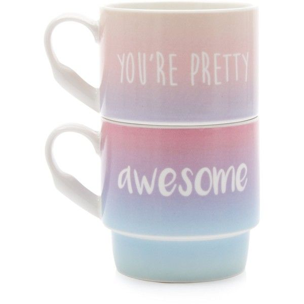 New Look Pink Awesome Slogan Stack Mugs ($10) ❤ liked on Polyvore featuring home, kitchen & dining, drinkware, multicolour, stacking mugs, outdoor drinkware and pink mug