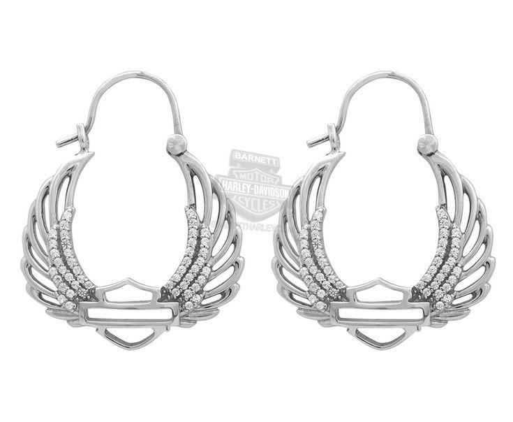 Harley-Davidson® Womens .925 Silver Bling Wing B&S Hoop Earrings by Mod Jewelry®