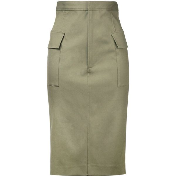 Astraet pencil skirt ($215) ❤ liked on Polyvore featuring skirts, green, pencil skirts, brown skirt, cotton knee length skirt, brown cotton skirt and green skirt