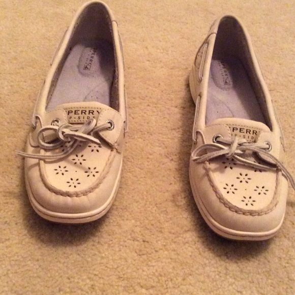 laser cut white sperries Super cute white sperries with the cute cut out design. ONLY WORN ONCE!!!! Sperry Top-Sider Shoes