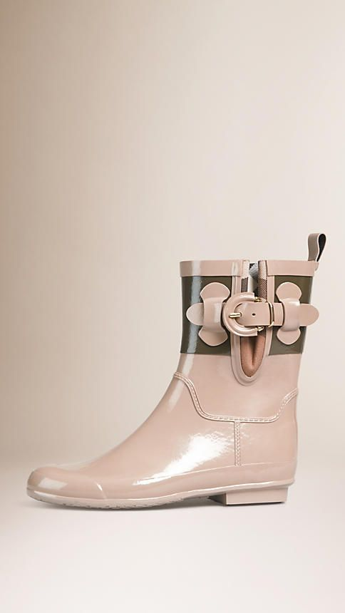 Burberry Honey House Check Detail Colour Block Rain Boots - Colour block patent rubber rain boots with a House check trim.  Inverted pleat and buckle strap.  Rubber grip sole.  Discover the shoes collection at Burberry.com