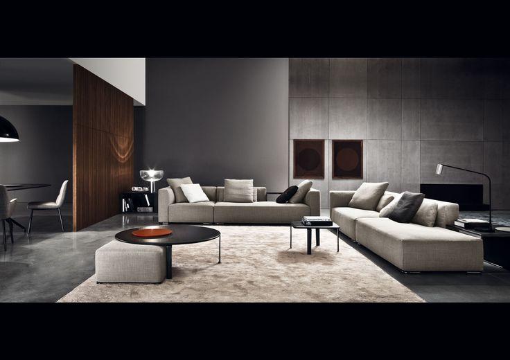 Minotti - Donovan sofa  Kiddi table lamp black lacquered