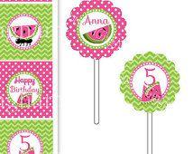 Watermeloen Cupcake Toppers-watermeloen partij Cupcake Toppers-Chevron watermeloen Cupcake Topper-watermeloen partij-roze en groene watermeloen