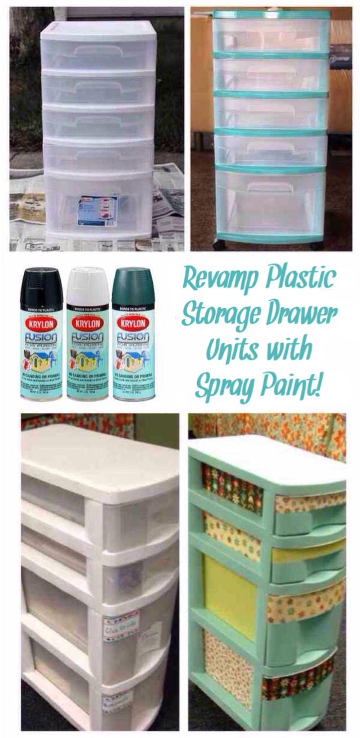 'Revamp Plastic Storage Drawer Units with Spray Paint...!' (via krylon.com)