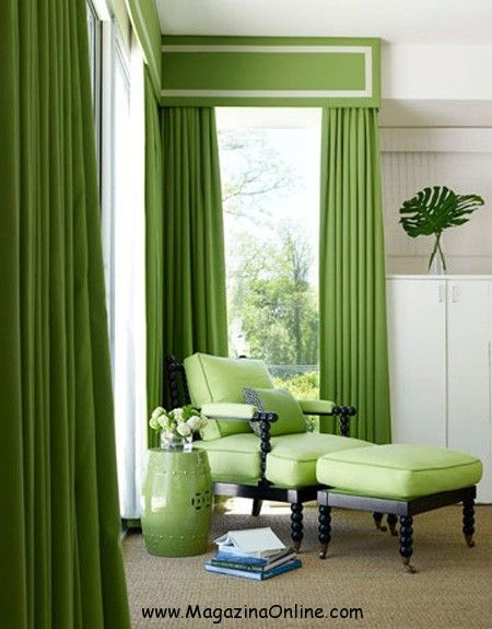 A Hot Burst Of Tropical Color Evokes A Vacation Mood In The Master Suite.  Curtains Are Pindler U0026 Pindleru0027s Maybrook In Kiwi, With French Grosgrain  Trim From ...