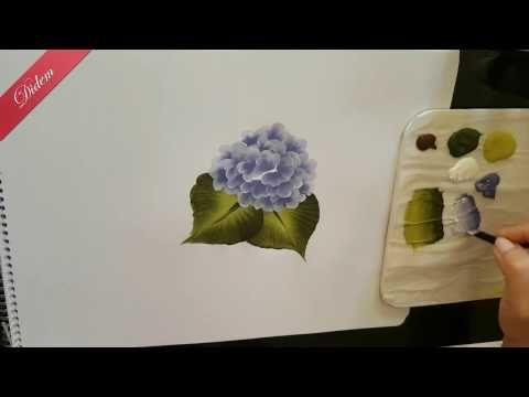 One Stroke Mine Çiçeği ve Büyük Yaprak Hareketinden ORTANCA çalışması   Didem One Stroke - YouTube