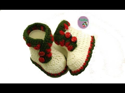 baby booties  baby booties sandals zapatitos a crochet With English subtitles video