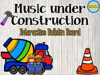 music under construction bulletin board. Adorable! Hammer out the rhythm. $
