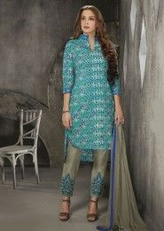 Casual Wear Cotton Sky Blue Printed Churidar Suit