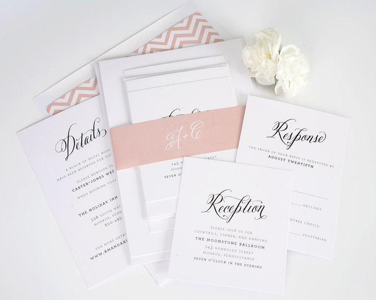 Rustic Wedding Invitations With Blush Chevron Accents