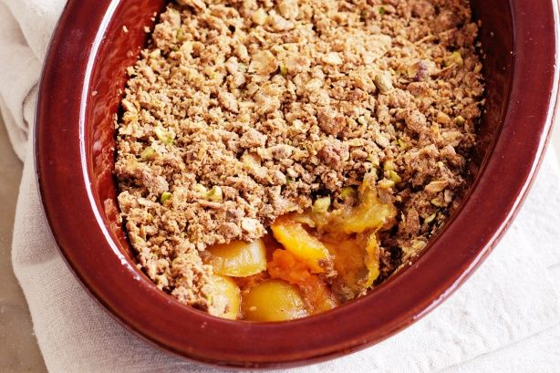 Apricot Crumble - For something fruity and warm to sweeten winter evenings, crumbles are truly tops. Try this diabetes-friendly version.