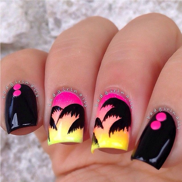 Tropical nails with pink studs ===== Check out my Etsy store for some nail art supplies https://www.etsy.com/shop/LaPalomaBoutique