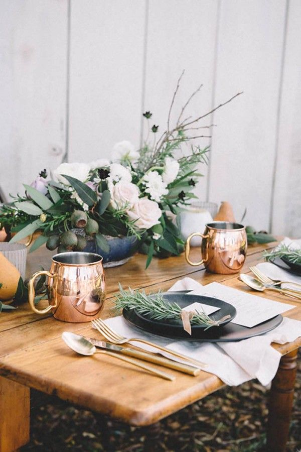 with copper tumblers & flatware, black crockery & herb sprigs for a Vintage Wedding Inspiration at Bernal Gulnac Joice Ranch