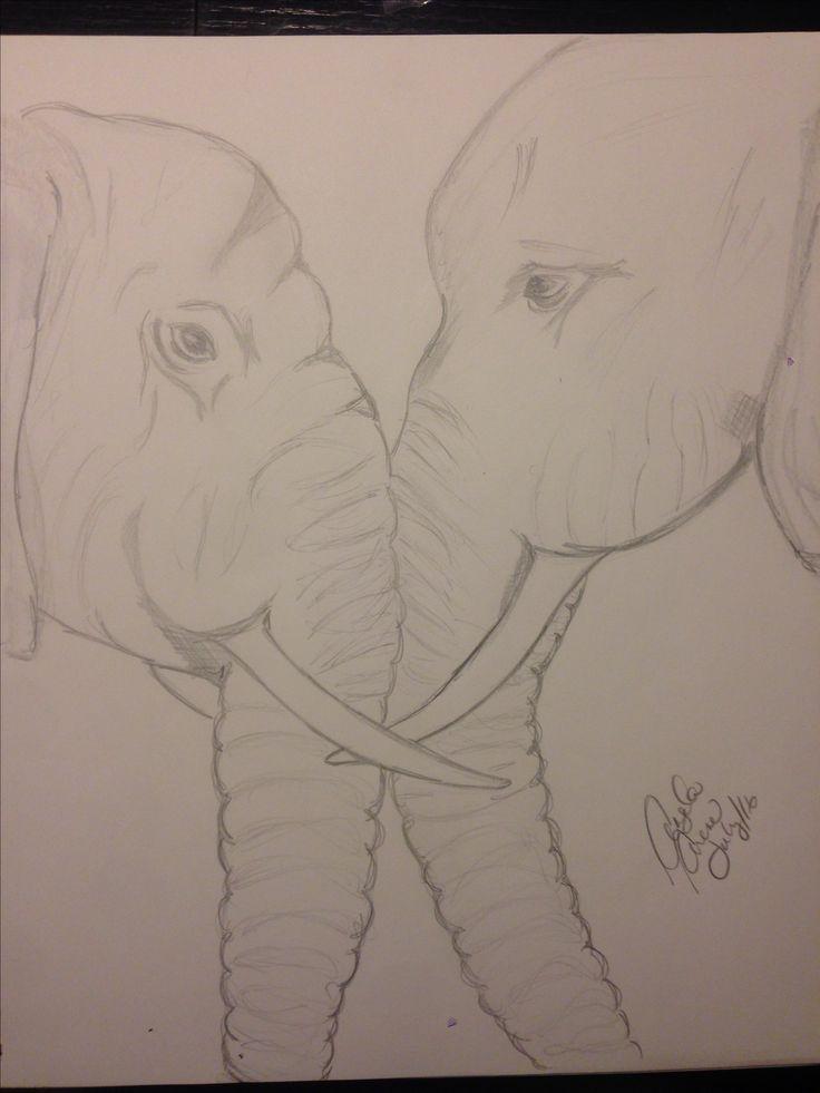"Pencil elephants  ""Love ❤️"""