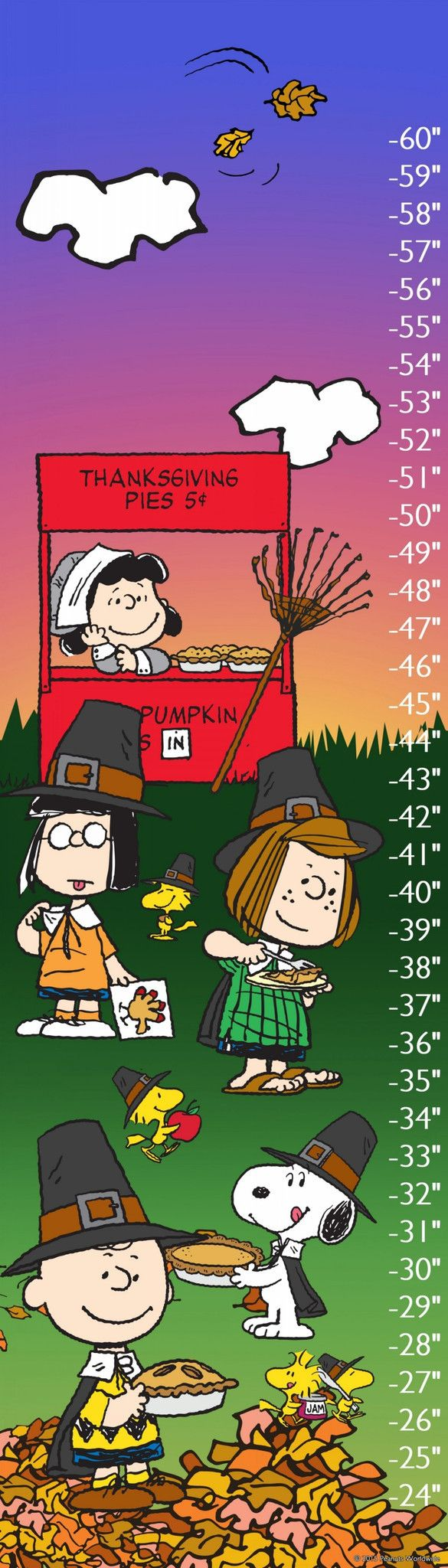 Description: Celebrate the Thanksgiving season with the Peanuts on this child's growth chart. Featuring a brightly color background, this rolled canvas chart show Peanuts characters raking leaves and