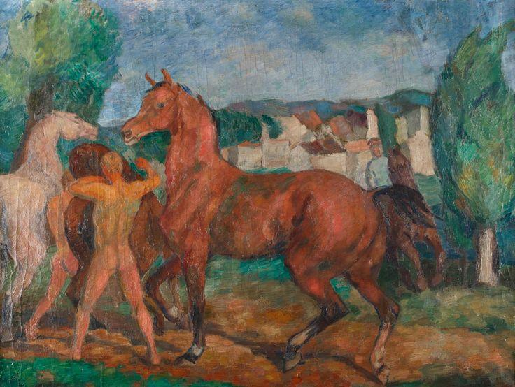 EUGENIUSZ GEPPERT (1890 - 1979)  PRÓBA SIŁ   olej, płótno / 59,5 x 79,5 cm