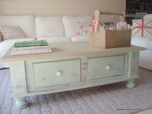 Restyled Vintage Coastal Coffee Table In Duck Egg Blue