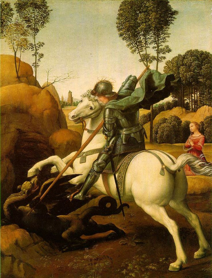 St. George Fighting the Dragon, Raphael   1504-06 (220 kB); Oil on wood, 28.5 x 21.5 cm (11 1/8 x 8 3/8 in); National Gallery of Art, Washington