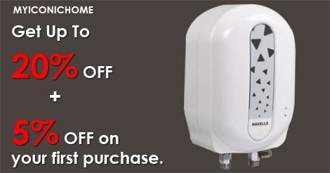 Get upto 20% offer for Water Heater in myiconichome. Additional 5% offer for first time purchase. Visit myiconichome.com for more offer.  * High wattage of 3 KW for instant heating * Extra thick SS inner tank of superior 304 grade * Rust and shock proof ABS outer body * Non ferrous pressure plate for longer life * Fire retardant ISI mark supply cord with plug top