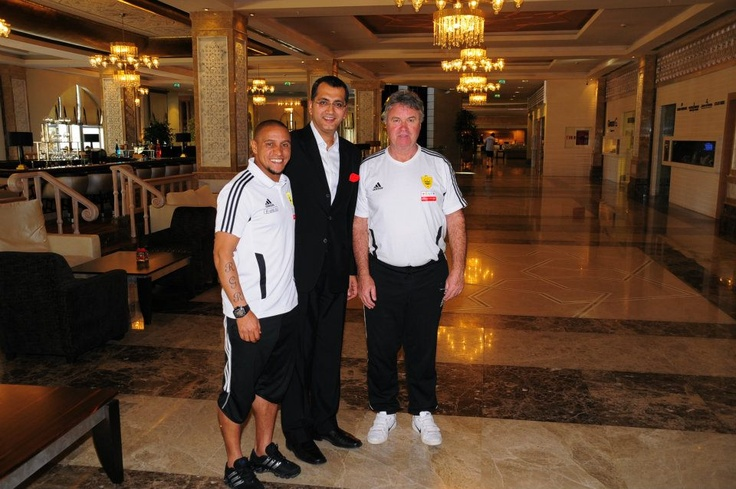 Roberto Carlos & Guus Hiddink with our General Manager Puneet Singh in Kempinski Hotel The Dome