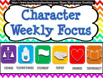 In this character education poster pack you will find six categories that are represented by various colored technology-inspired icons.  The categories represent fairness, trustworthiness, citizenship, respect, kindness, and responsibility. The pack includes character traits that correspond with 42 weeks.