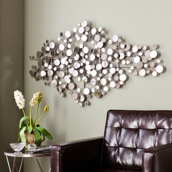 Give any room a chic flair with this quirky harper blvd olivia mirrored metal wall sculpture made with a variety of circular mirrors and an antique silver