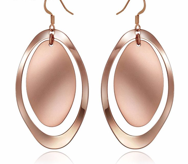 Gold/Rose Gold Color Cambered Dangle Earrings for Woman Metallic Female Drop Earrings Large Pink Earrings Women Fashion Jewelry